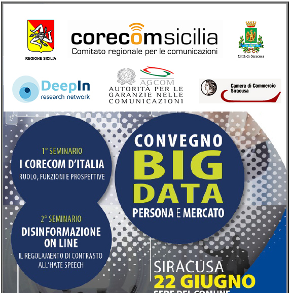 "CONFERENCE OF CORECOM SICILY:""ONLINE DISINFORMATION"" AND ""BIG DATA – PERSON AND MARKET"""